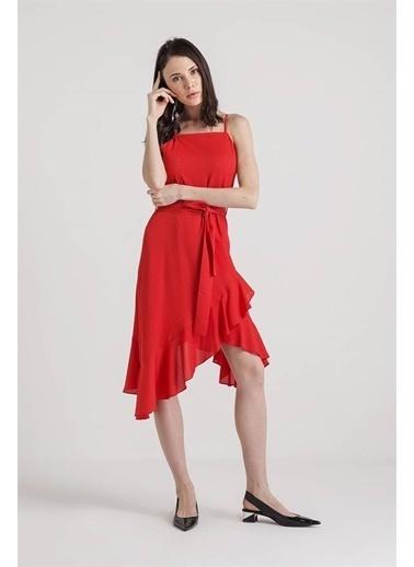 Rue Kolsuz Askılı Volanlı Midi Elbise Kırmızı